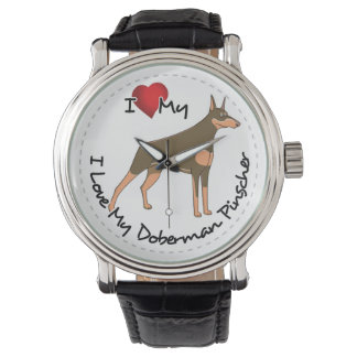 I Love My Doberman Pinscher Dog Watch
