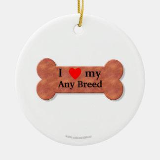 I love my dog breed round ceramic decoration