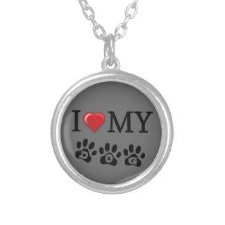 I Love My Dog Necklace Gray Background