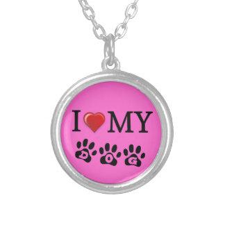 I Love My Dog Necklace Pink Background