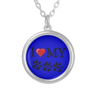 I Love My Dog Necklace Sapphire Background