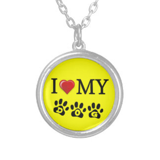 I Love My Dog Necklace Yellow Background