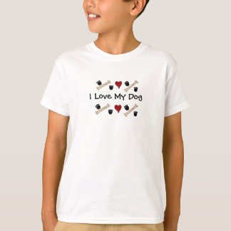 I Love My Dog - Paw Prints and Bones T-Shirt