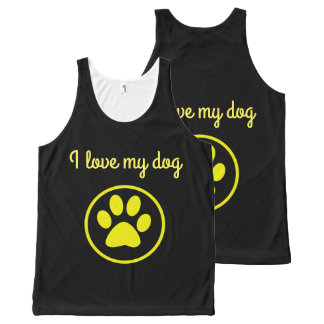 I love my dog yellow paw pet lover All-Over print singlet