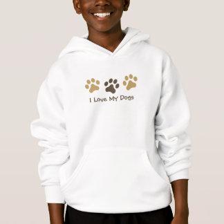 I Love My Dogs Paw Print Hoodie