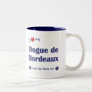 I Love My Dogue de Bordeaux (Female Dog) Two-Tone Coffee Mug