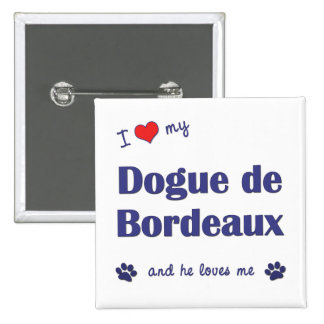 I Love My Dogue de Bordeaux (Male Dog) Pinback Buttons