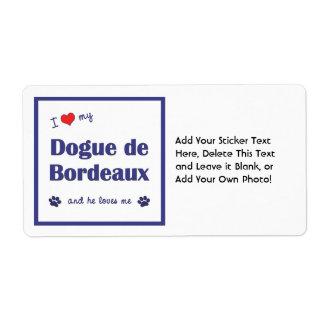 I Love My Dogue de Bordeaux (Male Dog) Shipping Label
