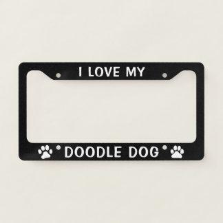 I Love My Doodle Dog - Paw Prints Licence Plate Frame
