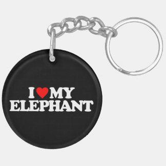 I LOVE MY ELEPHANT Double-Sided ROUND ACRYLIC KEYCHAIN