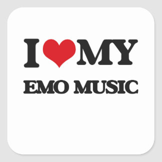 I Love My EMO MUSIC Square Stickers