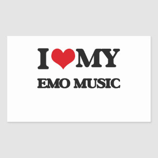 I Love My EMO MUSIC Rectangle Stickers