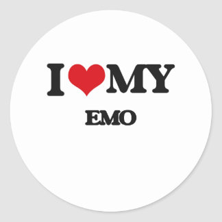 I Love My EMO Round Sticker