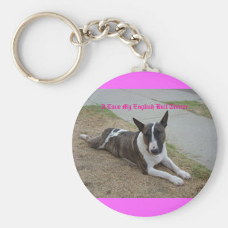 I Love My English Bull Terrier Basic Round Button Key Ring