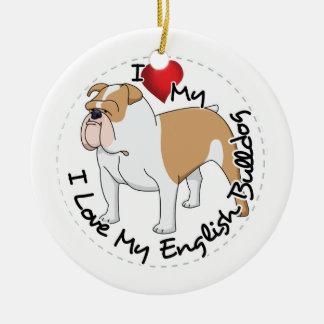 I Love My English Bulldog Dog Ceramic Ornament