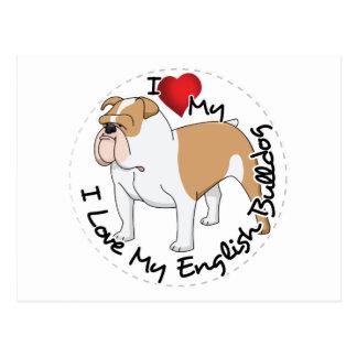 I Love My English Bulldog Dog Postcard