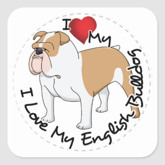 I Love My English Bulldog Dog Square Sticker