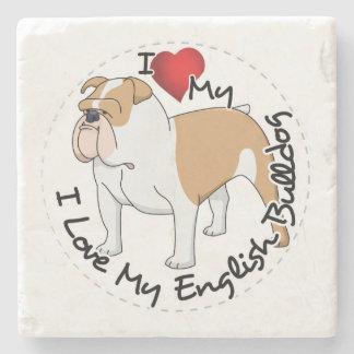 I Love My English Bulldog Dog Stone Coaster