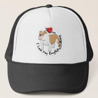 I Love My English Bulldog Dog Trucker Hat