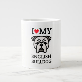 I Love My English Bulldog Large Coffee Mug