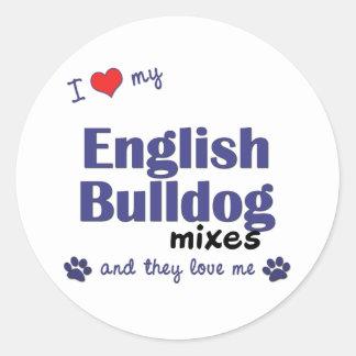 I Love My English Bulldog Mixes (Multiple Dogs) Stickers