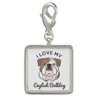 """I Love My English Bulldog"" Silver Plated Charm"