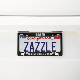I Love My English Cocker Spaniel Licence Plate Frame