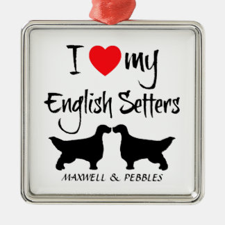 I Love My English Setter Dogs Silver-Colored Square Decoration