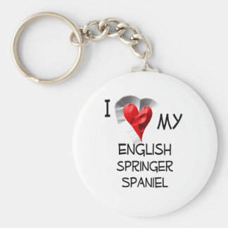 I Love My English Springer Spaniel Basic Round Button Key Ring