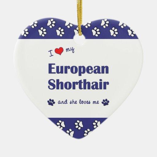 I Love My European Shorthair (Female Cat) Ornaments