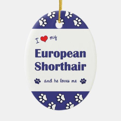 I Love My European Shorthair (Male Cat) Ornaments