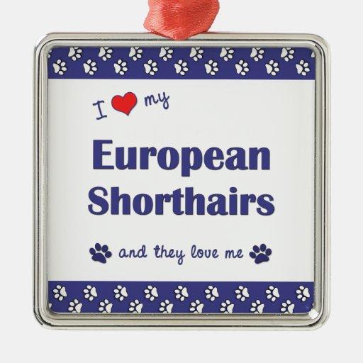 I Love My European Shorthairs (Multiple Cats) Christmas Ornament