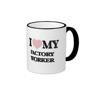 I love my Factory Worker (Heart Made from Words) Ringer Mug