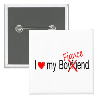 I Love My Fiance 15 Cm Square Badge