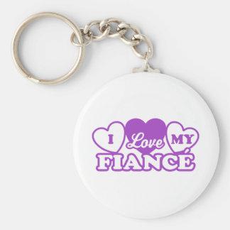 I Love My Fiance Basic Round Button Key Ring
