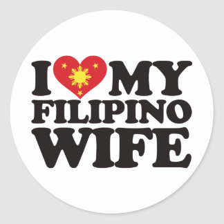I Love My Filipino Wife Classic Round Sticker
