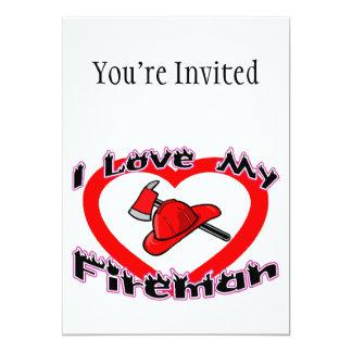 I Love My Fireman 5x7 Paper Invitation Card