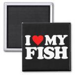 I LOVE MY FISH SQUARE MAGNET