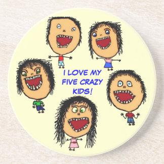 I Love My Five Crazy Kids Coaster
