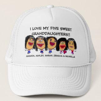 I Love My Five Granddaughters Cartoon Trucker Hat