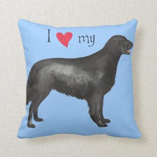 I Love my Flat-Coated Retriever Throw Cushions
