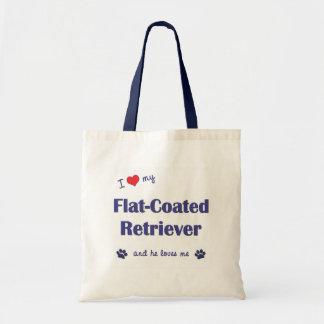 I Love My Flat-Coated Retriever (Male Dog) Bags
