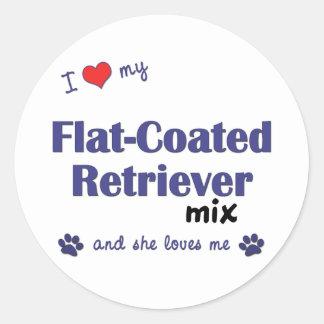 I Love My Flat-Coated Retriever Mix (Female Dog) Classic Round Sticker