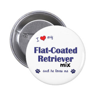 I Love My Flat-Coated Retriever Mix (Male Dog) Buttons