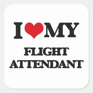 I love my Flight Attendant Square Sticker