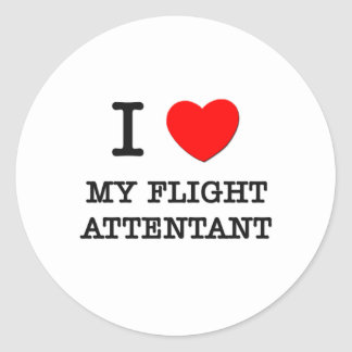 I Love My Flight Attentant Round Sticker