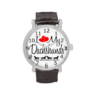 I Love My Four Dachshund Dogs Wrist Watches