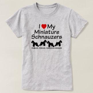 I Love My Four Miniature Schnauzer Dogs Shirt