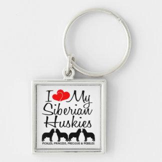 I Love My Four Siberian Huskies Custom Keychain