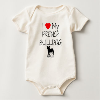I Love My French Bulldog Baby Bodysuit
